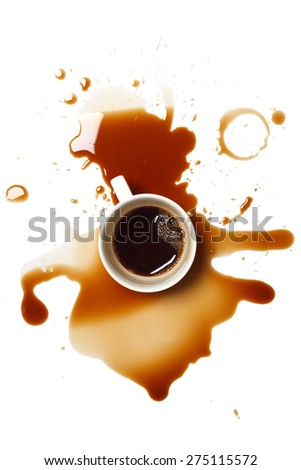 coffee spill stain accident drop white background flat lay - stock photo