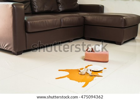 Coffee spilled broken with tissue on floor in living room