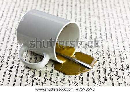 Coffee Spilled On Old Looking Document - stock photo