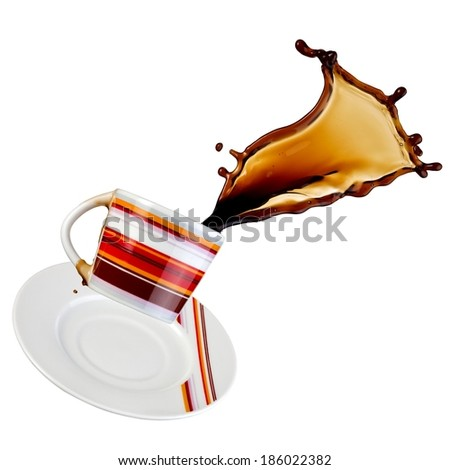 Coffee splash from a color cup - stock photo