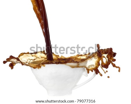 Coffee splash in a cup - stock photo