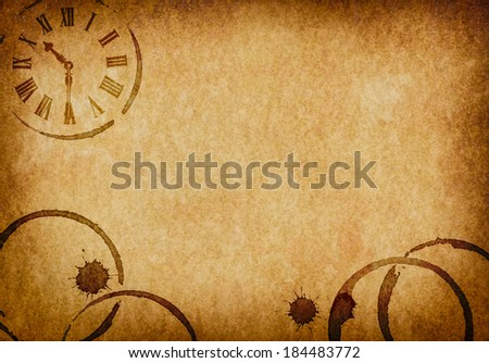 Coffee Stains & Clock Vellum Parchment Background - stock photo