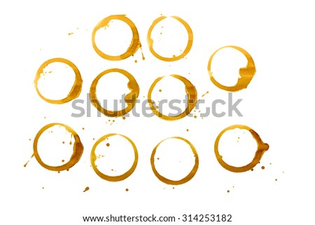 Coffee Stains isolated on white background. - stock photo