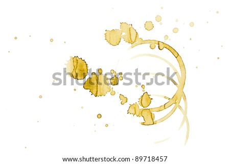 Coffee stains on white - stock photo