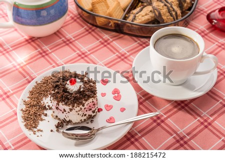 Coffee, sweet cake and cookies - stock photo