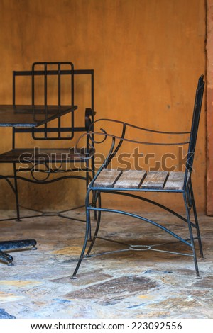 Coffee table in the garden to relax - stock photo