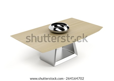 Coffee table on white background - stock photo
