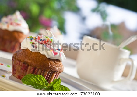 coffee table with muffins - stock photo