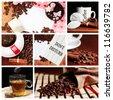 coffee tea cupcake collage - stock photo
