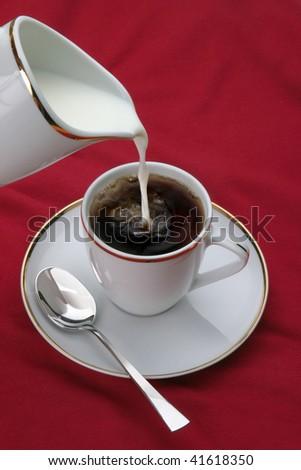 Coffee, tea, with milk - stock photo