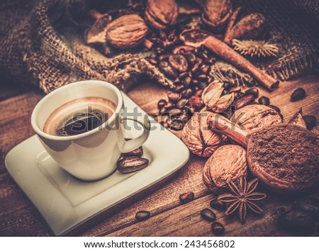 Coffee theme still-life on wooden table  - stock photo