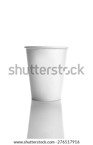 Coffee To Go, Blank White Paper Cup on Bright Background with Reflection - stock photo