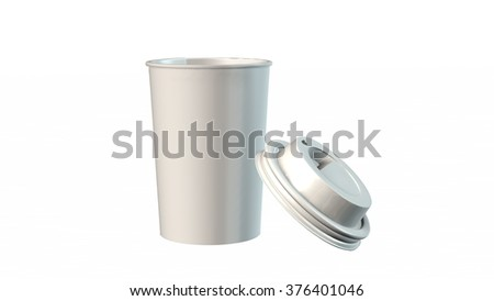 coffee to go Paper cup isolated on white - stock photo