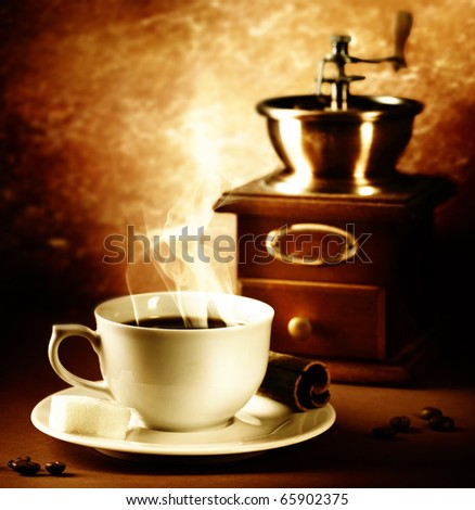 Coffee.Vintage Styled.Sepia toned - stock photo