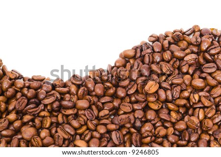 Coffee wave made of beans on white background