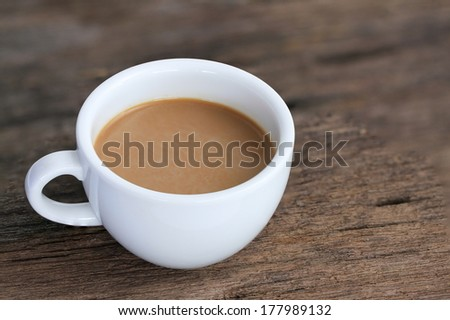 coffee white cup on wood background  - stock photo