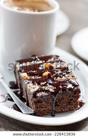 coffee with brownie - stock photo