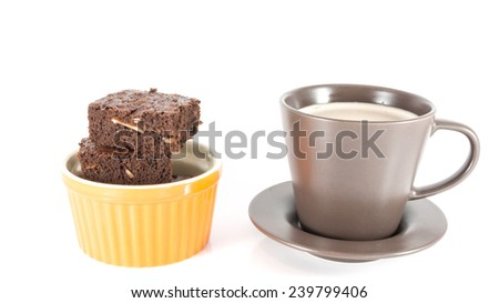 coffee with brownies isolated on white