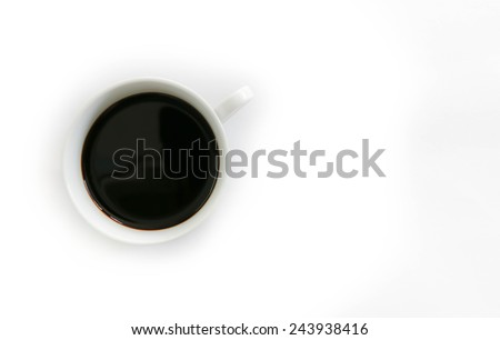 Coffee with bubbles in a white cup and saucer from directly above. Isolated on white, clipping path included. - stock photo