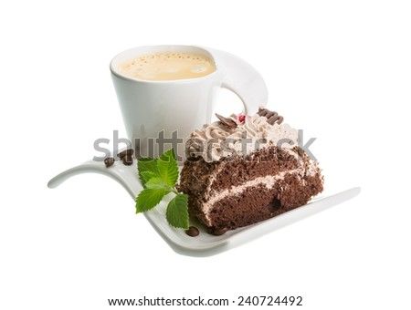 Coffee with cake and mint leaves - stock photo