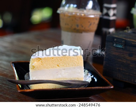 coffee with coconut cake