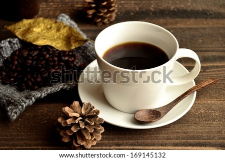 Coffee with coffee beans.image of coffee on winter season.
