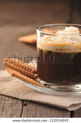 Coffee with cream and cookies - stock photo