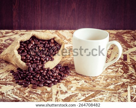 Coffee with filter effect retro vintage style - stock photo