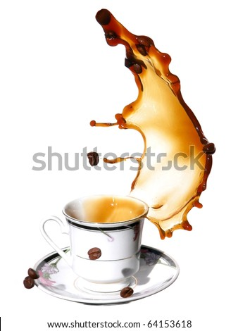 Coffee with grains - stock photo