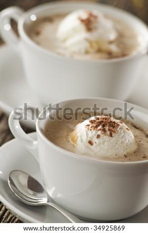 Coffee with ice cream close up shoot - stock photo