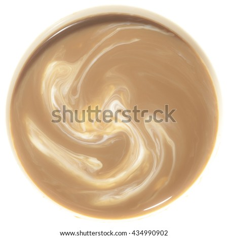 Coffee with milk and foam isolated on white background