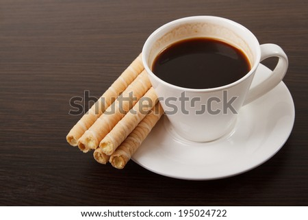 coffee with sweet stick - stock photo