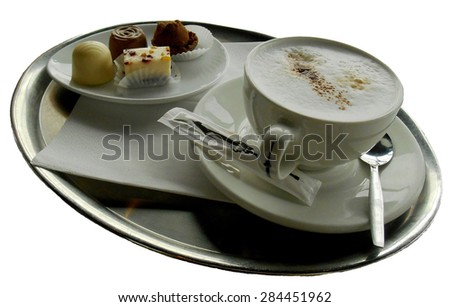 Coffee with sweets, isolated  - stock photo