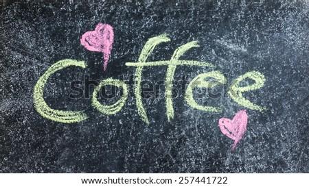 coffee word written on blackboard, vintage style - stock photo