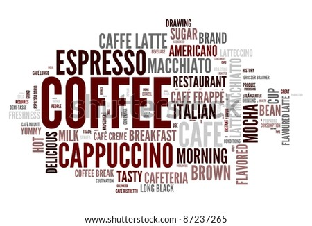 Coffee words concept in tag cloud on white background - stock photo