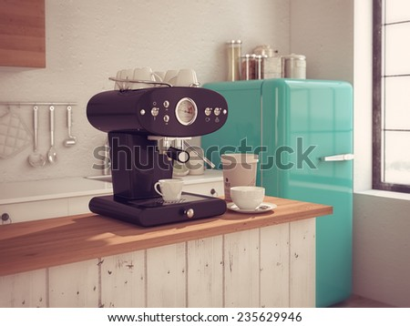 Coffeemaker and cup of coffee in kitchen interior. 3d rendering - stock photo
