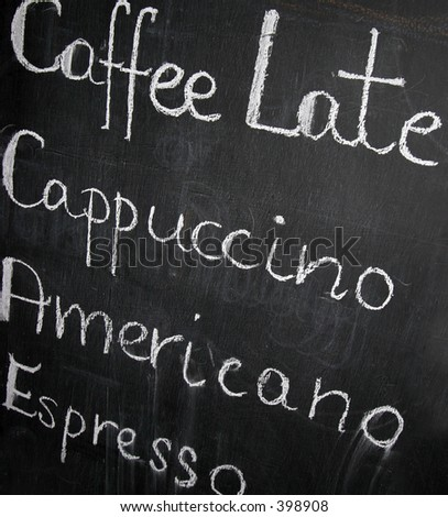 Coffeemenu on a handwritten blackboard