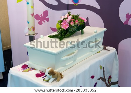 Coffin for a child in a mortuary - stock photo