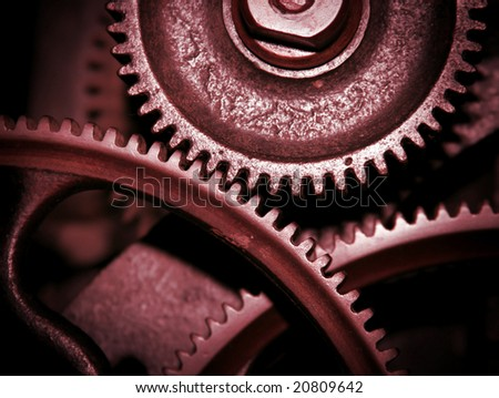Cog and wheel details from machines of the industrial revolution - stock photo