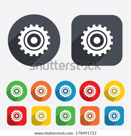 Cog settings sign icon. Cogwheel gear mechanism symbol. Circles and rounded squares 12 buttons. - stock photo