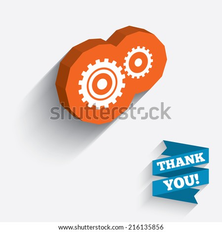 Cog settings sign icon. Cogwheel gear mechanism symbol. White icon on orange 3D piece of wall. Carved in stone with long flat shadow.