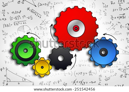 cog wheels sketch in color on abstract math background - stock photo