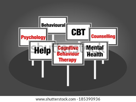 Cognitive behaviour therapy signs - stock photo