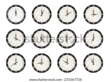 Cogs and Gears of elegant roman numeral clock wall board set collection of 12 hours. isolated on white background. - stock photo