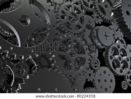 Cogs machinery background - stock photo