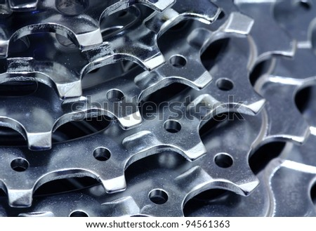 Cogs of steel. Chromed and shiny. - stock photo