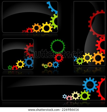 Cogwheel Black Banner - Abstract Illustration - stock photo