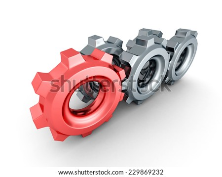cogwheel gears with red leader on white background. 3d render illustration - stock photo
