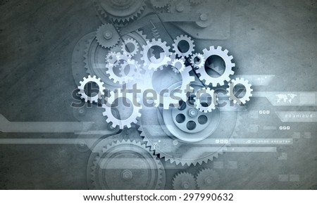 Cogwheels and gears mechanism on digital business background - stock photo