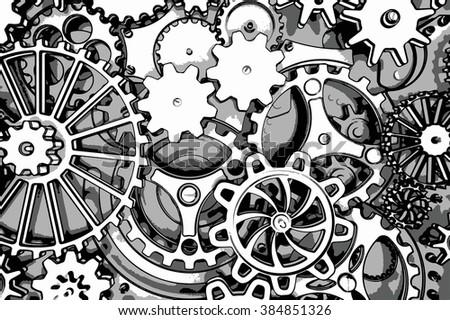cogwheels background, 3d render - stock photo